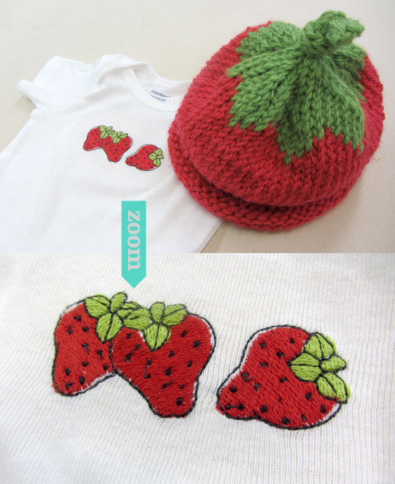 baby onesie and knit hat