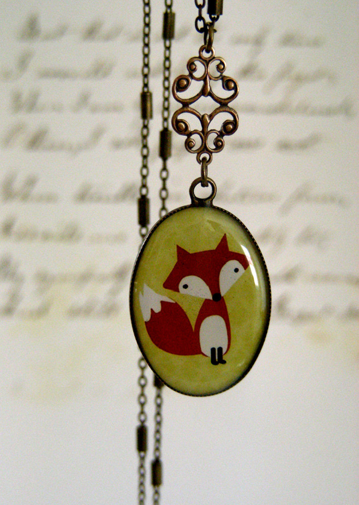 vintage fox necklace