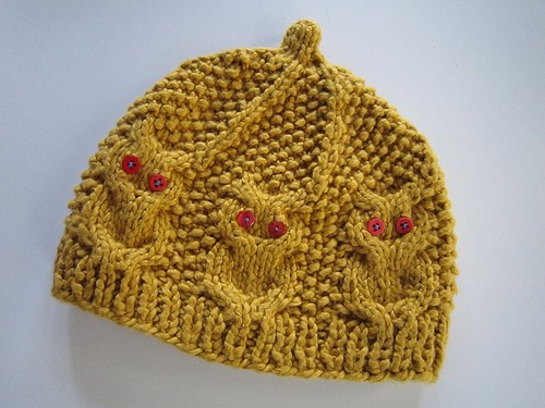 knit owl baby hat