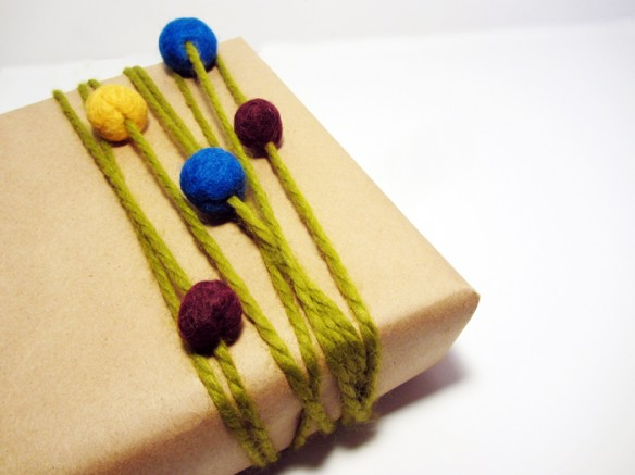 felt ball present wrapping