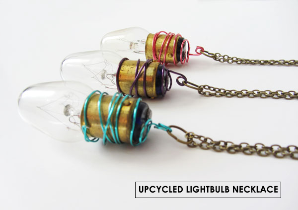 upcycled lightbulb necklace